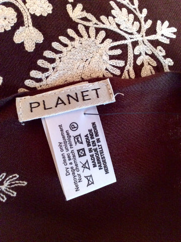 Brand New Planet Dark Brown & White Embroidered Wool Wrap / Shawl One Size - Whispers Dress Agency - Womens Scarves & Wraps - 3