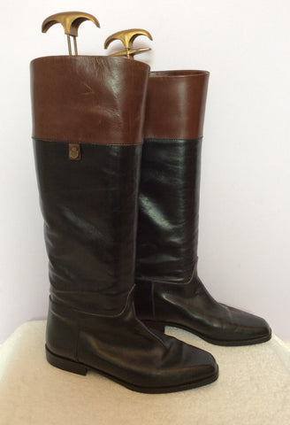 Bally Black & Brown All Leather Knee High Boots Size 3.5/36 - Whispers Dress Agency - Womens Boots - 1