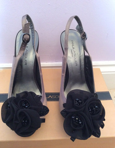 Brand New Paula Soler Brown & Black Satin Slingback Heels Size 4/37 - Whispers Dress Agency - Womens Heels - 2