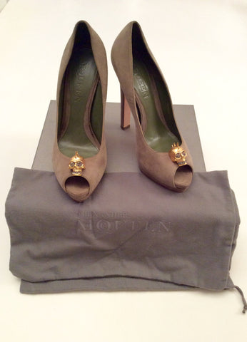 Alexander Mcqueen Olive Green Suede Skull Trim Heels Size 7.5/41 - Whispers Dress Agency - Womens Heels - 1