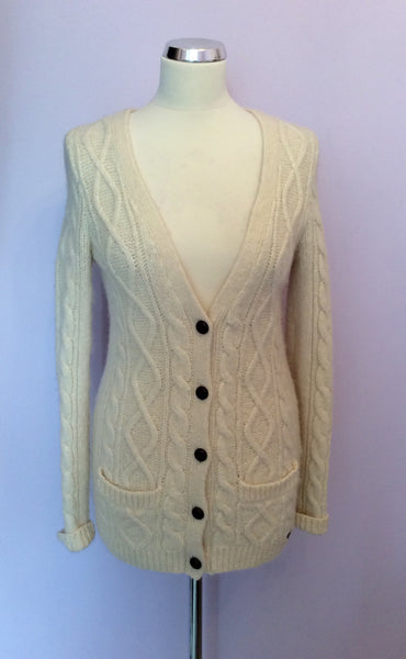 Abercrombie & Fitch Cream Cable Knit Alpaca Wool Cardigan Size L - Whispers Dress Agency - Sold - 1
