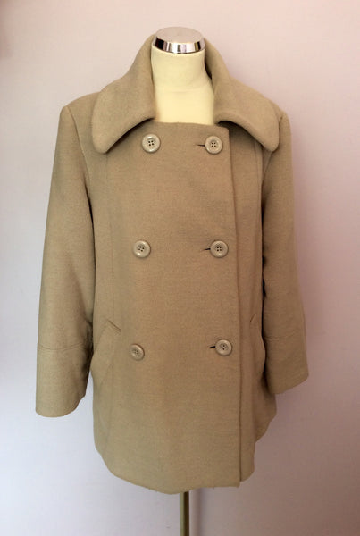 Betty Jackson Studio Beige Double Breasted Coat Size 14 - Whispers Dress Agency - Sold - 1