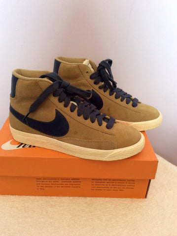 Brand New Nike Beige & Blue Suede Blazer Filbert Mid Trainer Boots Size 4/37 - Whispers Dress Agency - Womens Trainers & Plimsolls - 2