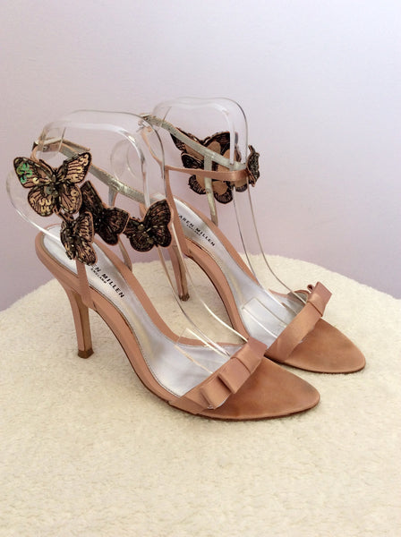 Karen Millen Pink Butterfly Detail Satin Sandals Size 4/37 - Whispers Dress Agency - Sold - 1