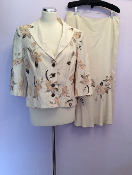 Minuet Cream & Brown Floral Print Silk & Linen Skirt Suit Size 14/16 - Whispers Dress Agency - Womens Suits & Tailoring - 1
