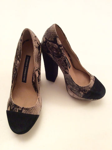 BRAND NEW FRENCH CONNECTION BEIGE & BLACK SNAKESKIN PLATFORM HEELS SIZE 3.5/36 - Whispers Dress Agency - Womens Heels - 1