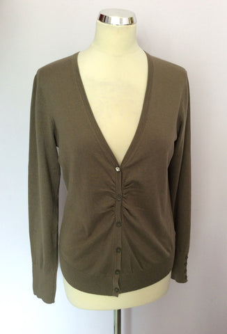 BETTY BARCLAY KHAKI GREEN V NECK CARDIGAN SIZE S - Whispers Dress Agency - Womens Knitwear - 1
