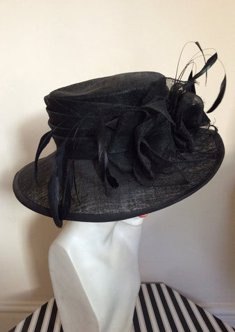 Black Feather & Flower Detail Wide Brim Formal Hat - Whispers Dress Agency - Womens Formal Hats & Fascinators - 2