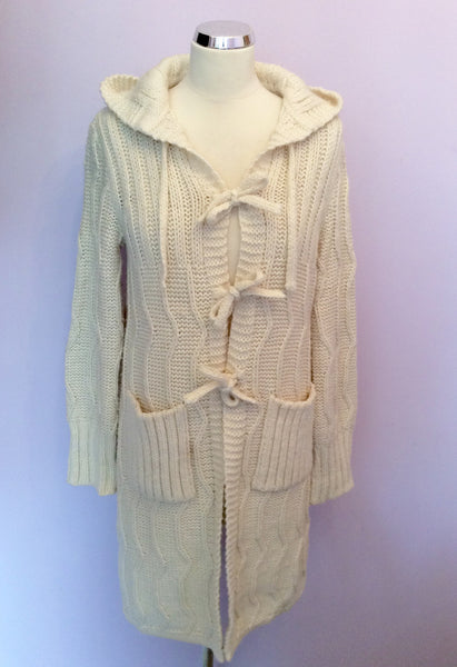 Benetton Cream Hooded Long Cardigan Size S - Whispers Dress Agency - Sold - 1