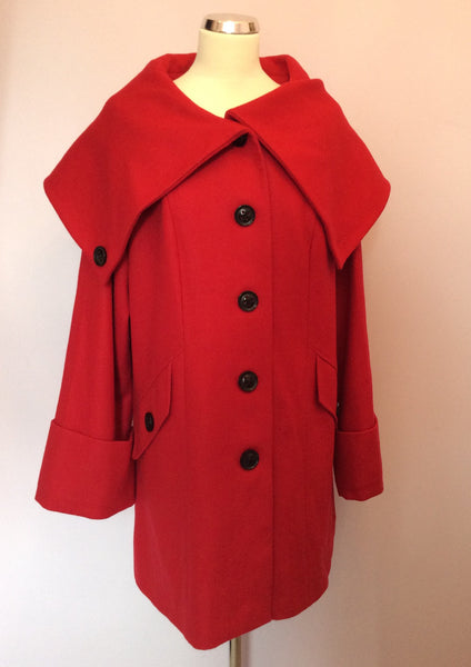 Per Una Red Wide Collar Coat Size 18 - Whispers Dress Agency - Sold - 1