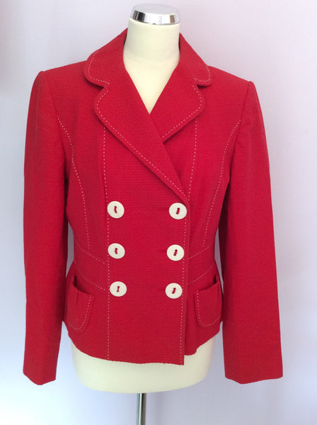 Marks & Spencer Red Cotton Double Breasted Jacket Size 14 - Whispers Dress Agency - Sold - 1