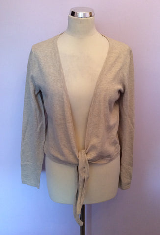 OUI MOMENTS OATMEAL BEIGE TIE FRONT CARDIGAN SIZE 16/18 - Whispers Dress Agency - Womens Knitwear - 1
