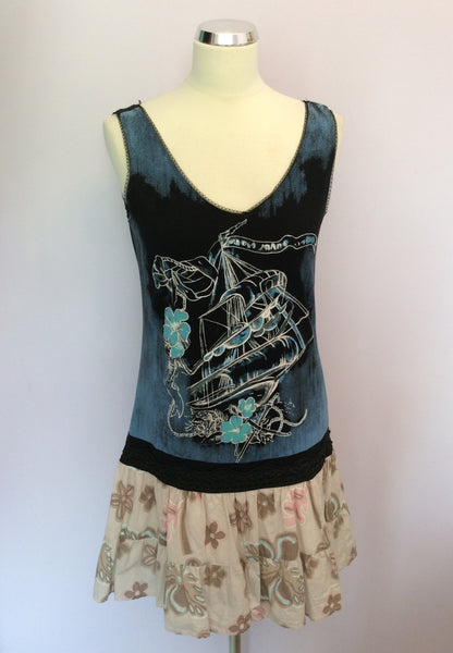 Custo Print Cotton Sleeveless Top Size 3 UK 12/14 - Whispers Dress Agency - Womens Tops - 1