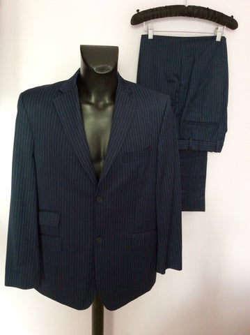 Ted Baker Endurance Navy Blue Pinstripe Wool Suit Size 42/34W - Whispers Dress Agency - Mens Suits & Tailoring - 1