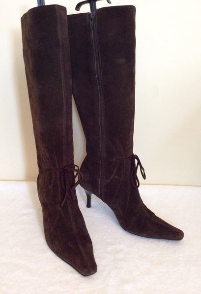 Roberto Vianni Dark Brown Suede Boots Size 5/38 - Whispers Dress Agency - Womens Boots - 1