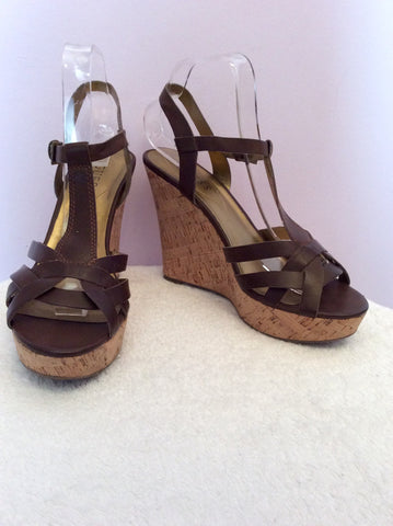 Guess Dark Brown Leather Wedge Heel Sandals Size 6/39 - Whispers Dress Agency - Womens Sandals - 1