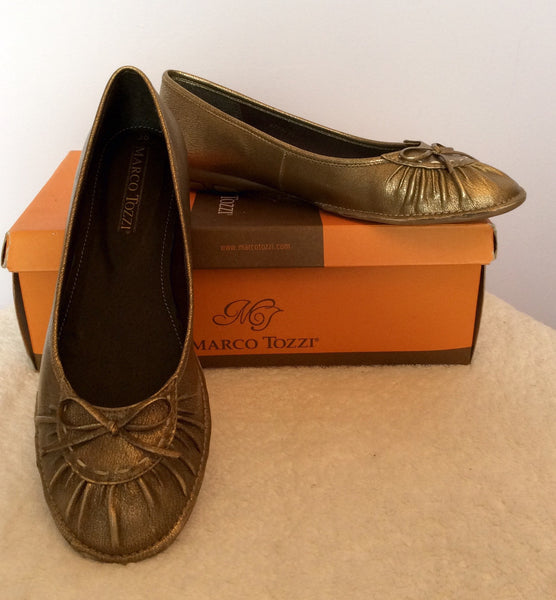 Brand New Marco Tozzi Bronze Flat Shoes Size 5/38 - Whispers Dress Agency - Sold - 1