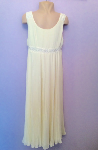 Monsoon Ivory Pleated Party Dress Age 12-13 Years - Whispers Dress Agency - Sold - 1