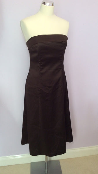 Coast Dark Brown Matt Satin Strapless Dress Size 12 - Whispers Dress Agency - Womens Special Occasion - 1