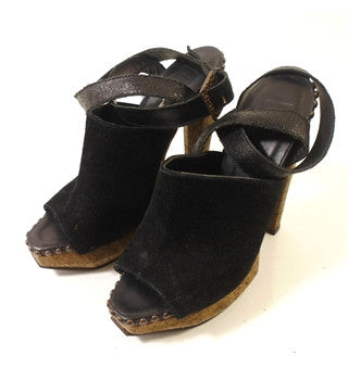 Brand New Herve Leger Black Suede & Cork Sandals Size 3.5/36 - Whispers Dress Agency - Womens Sandals - 3