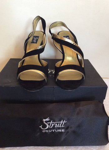 Strutt Couture Black & Gold Wedge Heel Sandals Size 6/39 - Whispers Dress Agency - Womens Wedges - 2