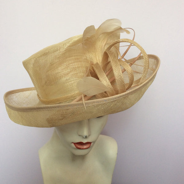 Snoxell Gwyther English Milinery Natural & Cream Formal Hat - Whispers Dress Agency - Womens Formal Hats & Fascinators - 1