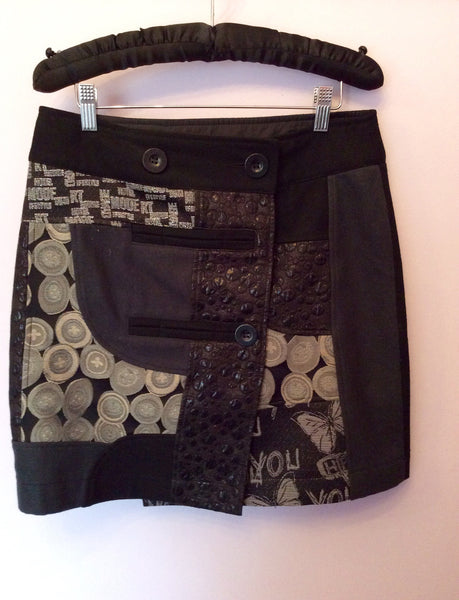 Desigual Black & Dark Grey Wrap Around Skirt Size 38 UK 10 - Whispers Dress Agency - Sold - 1