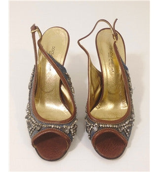 Dolce & Gabbana Tan Leather & Blue Denim Jewel Trim Slingback Heels Size 5.5/38.5 - Whispers Dress Agency - Womens Sandals - 2