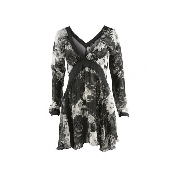 All Saints Charcoal Grey Silk Print Dress Size M - Whispers Dress Agency - Womens Dresses - 1