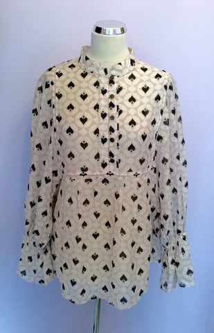 Alice Temperley Pale Pink, Grey & Black Spade Print Smock Top Size 10 - Whispers Dress Agency - Womens Tops - 1