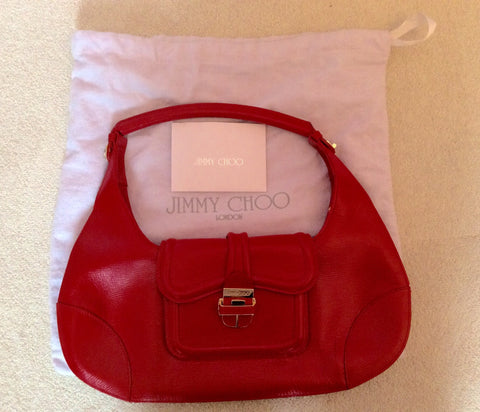 Jimmy Choo Red Leather Harp Bag - Whispers Dress Agency - Sold - 1