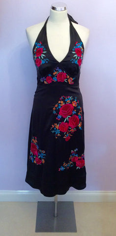 BRAND NEW MONSOON BLACK SILK EMBROIDERED HALTERNECK DRESS SIZE 8 - Whispers Dress Agency - Womens Dresses - 1