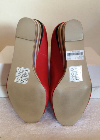 Brand New Red Level Red Peeptoe Striped Wedge Heels Size 7/40 - Whispers Dress Agency - Womens Wedges - 5