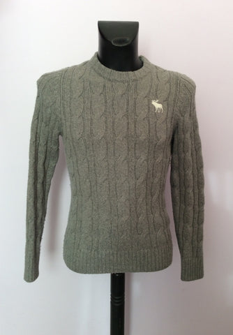 Abercrombie & Fitch Grey Cable Knit Jumper Size M - Whispers Dress Agency - Mens Knitwear - 1