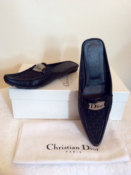 Christian Dior Black Leather & Canvas Slip On Mules Size 4/37 - Whispers Dress Agency - Sold - 1