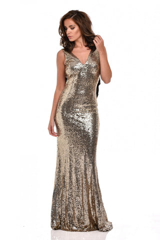 NAZZ COLLECTION GOLD SEQUINED WITH BLACK BOW LONG EVENING DRESS SIZE 12 - Whispers Dress Agency - Sold - 1