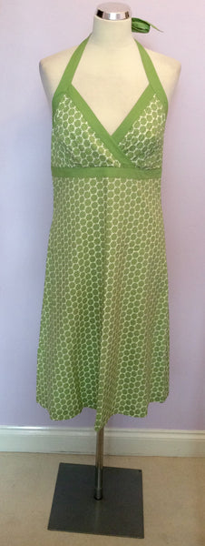 Boden Green & White Floral Print Cotton Halterneck Dress Size 12R - Whispers Dress Agency - Sold - 1