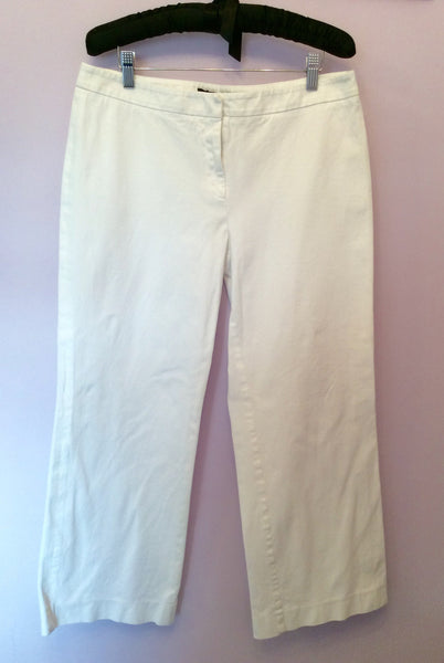 Max Mara Weekend White Cotton Trousers Size 16 - Whispers Dress Agency - Sold - 1