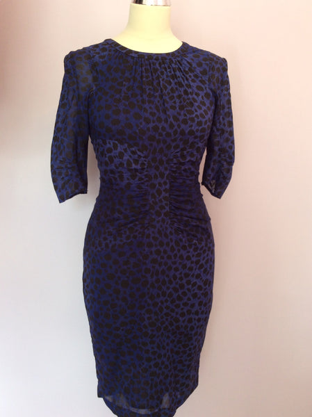 Whistles Purple Leopard Print Silk Dress Size 6 - Whispers Dress Agency - Sold - 1