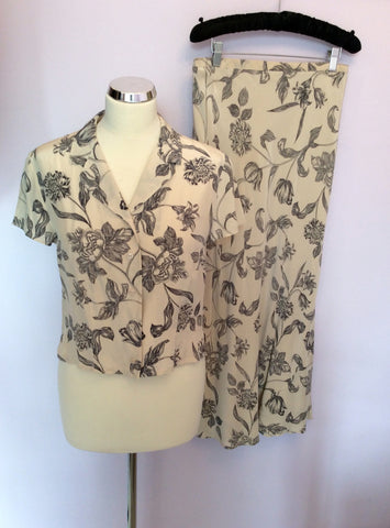 Alexon Cream & Black Floral Print Silk Blouse & Skirt Size 12 - Whispers Dress Agency - Womens Suits & Tailoring - 1