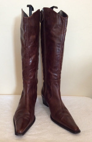 Marks & Spencer Dark Brown Leather Knee High Boots Size 8/42 - Whispers Dress Agency - Womens Boots - 3