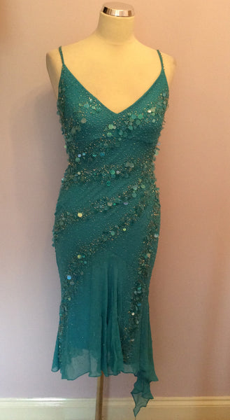 Yve London Turquoise Silk Beaded & Sequinned Cocktail Dress Size Small - Whispers Dress Agency - Womens Dresses - 1
