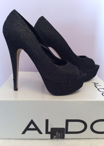 Aldo Vannice Black Sparkle Peeptoe Platform Sole Heels Size 5/38 - Whispers Dress Agency - Womens Heels - 3
