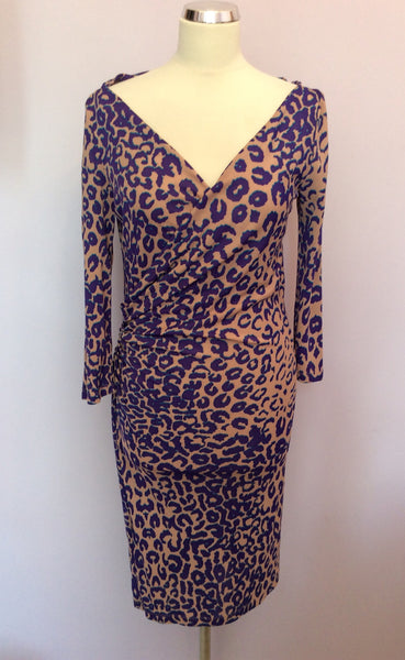 LK Bennett Nude, Purple & Turquoise Leopard Print Wrap Dress Size 8 - Whispers Dress Agency - Sold - 1