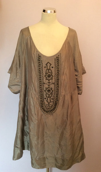 ANN HARVEY SILVER GREY BEADED TRIM SMOCK/ TUNIC TOP SIZE 28 - Whispers Dress Agency - Womens Tops - 1