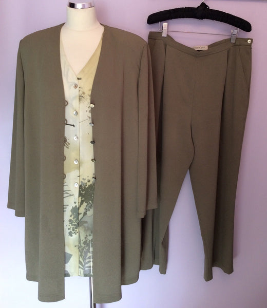 Jacques Vert Olive Green Long Jacket, Blouse & Trouser Suit Size 16 - Whispers Dress Agency - Sold - 1