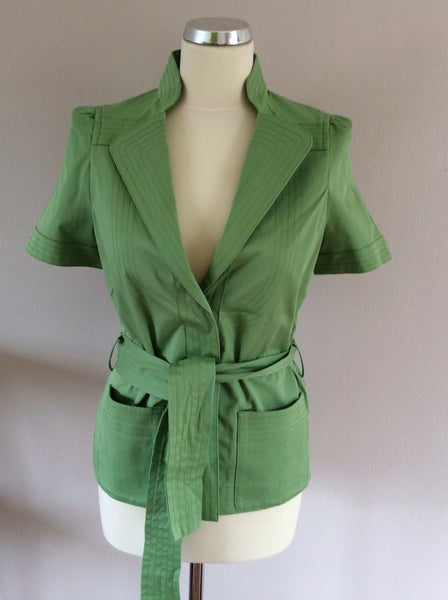 Jaeger Light Green Short Sleeve Belted Cotton Jacket Size 10 - Whispers Dress Agency - Sold - 1
