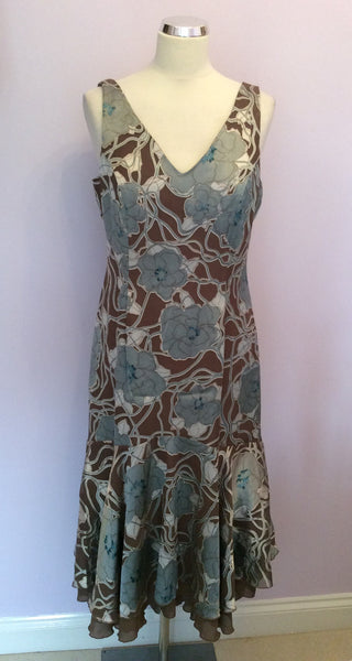 Brand New Tara Brown & Silver Grey Floral Print Dress Size 12 - Whispers Dress Agency - Sold - 1