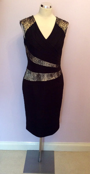 Brand New Alexon Black & Pale Gold Lace Trim Occasion Dress Size 14 - Whispers Dress Agency - Womens Dresses - 1