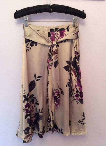 Hobbs Oyster Beige & Purple Floral Print Silk Skirt Size 12 - Whispers Dress Agency - Womens Skirts - 1